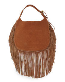 Flat Suede Hobo Bag w/Fringe, Brown