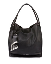Medium Soft Leather Tote Bag, Black