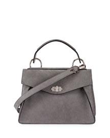 Hava Medium Nubuck Top-Handle Satchel Bag, Gray