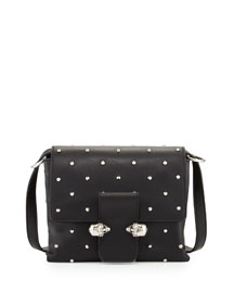 Tin Skull Leather Crossbody Bag, Black