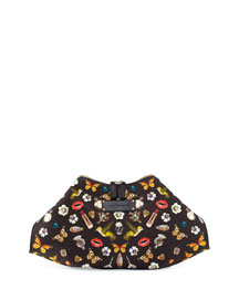 De-Manta Butterfly-Print Clutch Bag, Multi