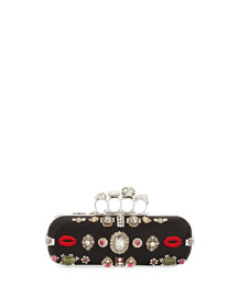 Embroidered Knuckle Box Clutch Bag, Black/Multi