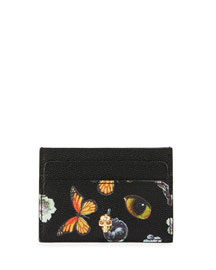 Obsession Butterfly-Print Leather Card Case, Black/Multi