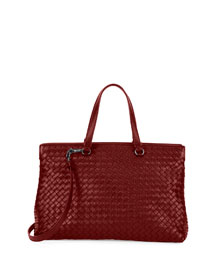 Large Double-Compartment Lambskin Tote Bag, Barolo