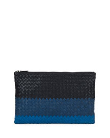 Colorblock Intrecciato Zip Pouch Bag, Blue Pattern