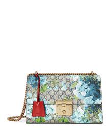 Padlock GG Blooms Shoulder Bag, Blue/Red