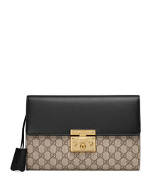 Padlock GG Supreme Clutch Bag, Black