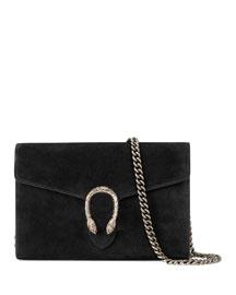 Dionysus Suede Mini Chain Bag, Nero