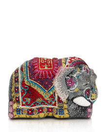 Crystal-Encrusted Elephant Clutch Bag, Red/Multi