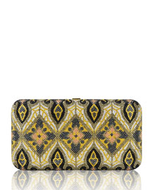 Smooth Crystal-Encrusted Rectangle Clutch Bag, Palladium/Multi