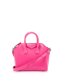 Antigona Mini Box Calfskin Satchel Bag, Shocking Pink