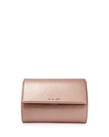 Pandora Metallic Box Clutch Bag, Light Pink