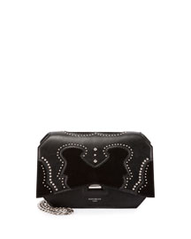 Bow-Cut Brogue Leather Crossbody Bag, Black
