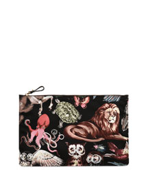 Large Animalia Nylon Pouch Bag, Black Multi