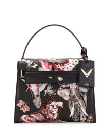 My Rockstud Medium Animalia Embroidered Leather Satchel Bag, Black/Multicolor