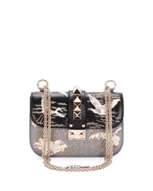 Rockstud Small Embroidered Leather Shoulder Bag, Black Pattern