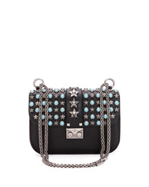 Small Lock Star-Studded Small Shoulder Bag, Black Pattern