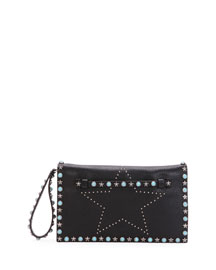 Star-Studded Small Wristlet Clutch Bag, Black
