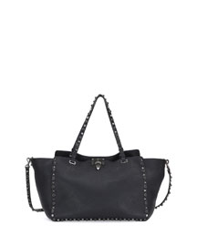 Rockstud Rolling Leather Tote Bag, Black