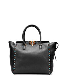 Rockstud Rolling Double-Handle Tote Bag, Black