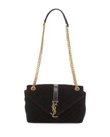 Monogram Medium Velvet Slouchy Chain Shoulder Bag, Noir