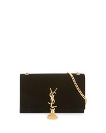 Kate Monogram Medium Velvet Tassel Satchel Bag