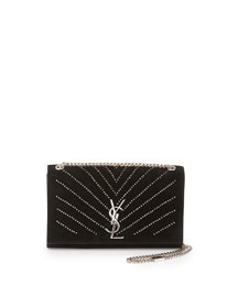 Monogram Medium Kate Crystal Chain Shoulder Bag, Black