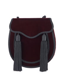 Opium 2 Tassel Velour Crossbody Bag, Bordeaux/Black