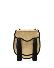 Opium 2 Tassel Velour Crossbody Bag, Pale Gold/Black
