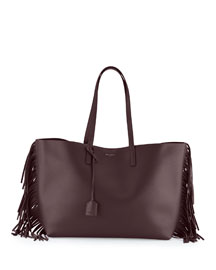 Fringed Large Leather Shopper Tote Bag