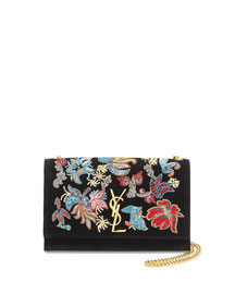 Monogram Sequin Flower Rock Flap Wallet-on-a-Chain Bag, Black/Multi