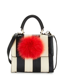 Mini Alex Bunny Striped Satchel Bag with Fur Pom, Black/White