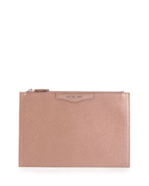 Antigona Medium Metallic Zip Pouch Bag, Light Pink