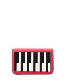 Janis Micro Piano Leather Clutch Bag, Fuchsia