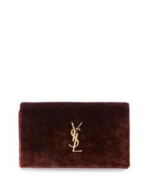 Monogram Velvet Chain Shoulder Bag, Red/Brown