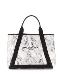 Cabas Medium Marble-Print Tote Bag, White/Black