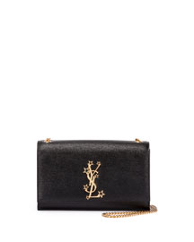 Monogram Medium Stars Logo Chain Shoulder Bag, Black