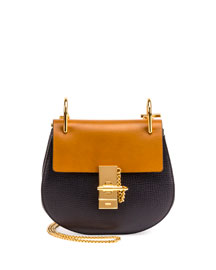 Drew Mini Grained Leather Shoulder Bag, Full Blue/Mustard