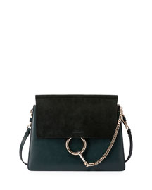 Faye Medium Flap Suede/Leather Shoulder Bag, Fresh Blue