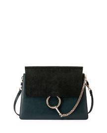 Faye Medium Flap Suede/Leather Shoulder Bag, Fresh Blue