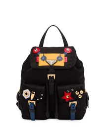 Robot Small Two-Pocket Backpack, Black Pattern