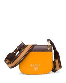 Bicolor Leather Saddle Bag