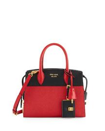 Esplanade Medium Bicolor City Satchel Bag, Red/Black (Fuoco/Nero)