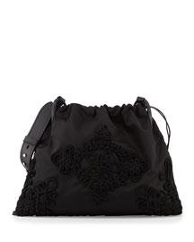 Large Embroidered Drawstring Hobo Bag, Black