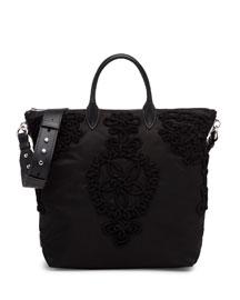 Large Nylon Embroidered Tote Bag, Black (Nero)