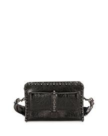 Rockstud Rolling Leather Small Shoulder Bag, Black