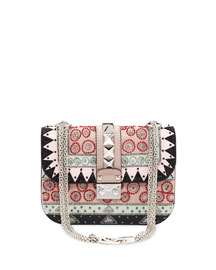 Small Beaded Geometric Patch Shoulder Bag, Multicolor