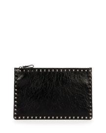 Rockstud Large Crinkled Leather Pouch Bag, Black