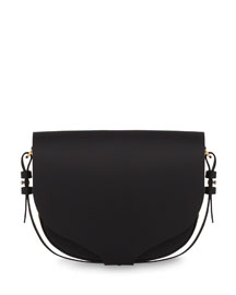 Medium Leather Saddle Bag, Black