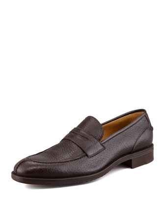 Split-Toe Peccary Penny Loafer, Dark Brown